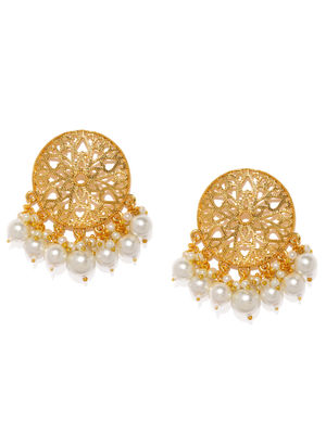 Gold-Toned Dreams Of Pearls Drop Earrings