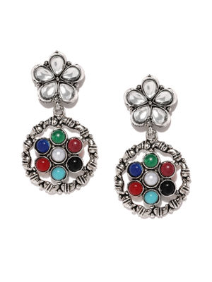 Multicoloured Oxidized Navratna Floral Drop Earrings