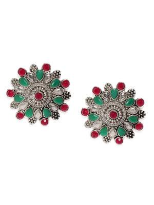 Silver-Toned & Fluorescent Green Circular Studs