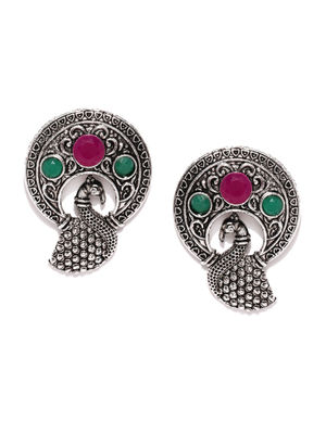 Silver-Toned & Pink Oxidised Circular Studs
