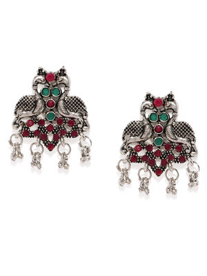 Oxidised Silver-Toned & Pink Peacock Shaped Studs