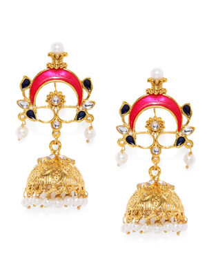 Pink & Gold-Toned Dome Shaped Jhumkas