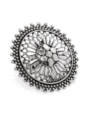 Women Oxidised Silver-Toned Filgree Flower Finger Ring