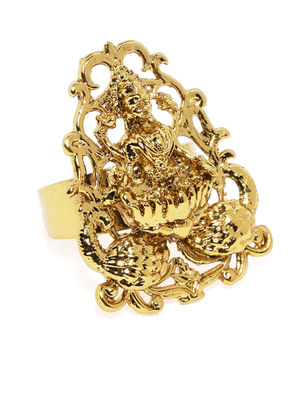 Women Gold-Toned Saraswati Adjustable Finger Ring