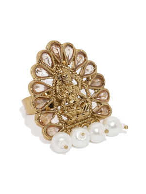 Women Gold-Plated Padma Saraswati Handcrafted Adjustable Finger Ring