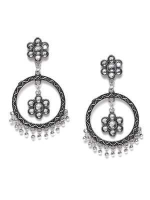 Silver-Toned Circular Oxidised Drop Earrings