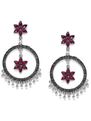 Silver-Toned & Pink Floral Oxidised Drop Earrings