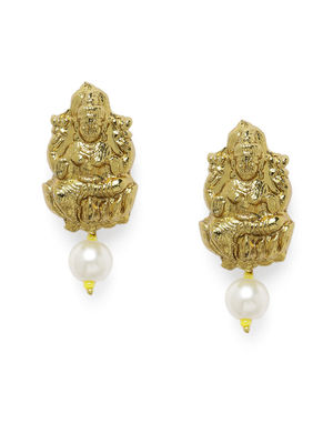 Gold-Toned & Off-White Laxmi Contemporary Studs