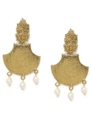 Gold-Toned & Off-White Classic Laxmi Drop Earrings