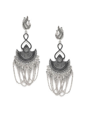 Silver-Toned Peacock Shaped Oxidised Drop Earrings