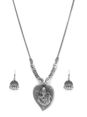 Women Silver-Toned Ganesh Necklace & Earring Set