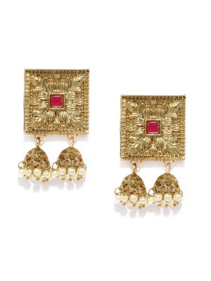 Gold-Toned Floral Jhumkas