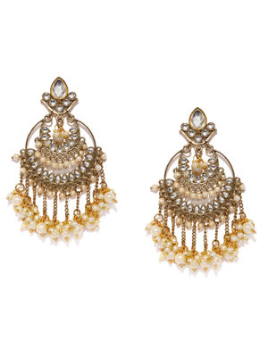 Gold-Toned Circular Fantasy Drop Earrings