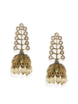 Gold-Toned Dome Shaped Antique Drop Earrings