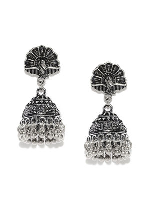 Silver-Toned Oxidised Dome Shaped Jhumkas