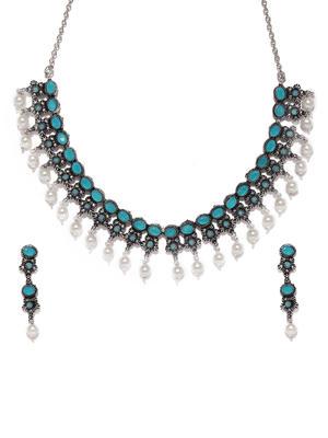Silver-Toned & Turquoise Blue Floral Designed Oxidised Jewellery Set