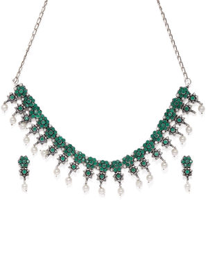 Silver-Toned & Green Floral Designed Oxidised Jewellery Set