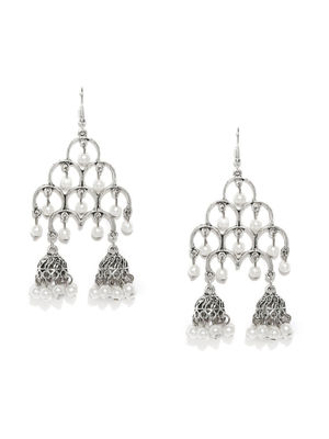 Silver-Toned Pearl Studded Dome Shaped Jhumkas