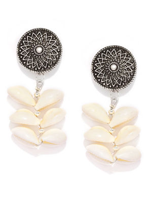 Silver-Toned & Off-White Contemporary Shell Drop Earrings