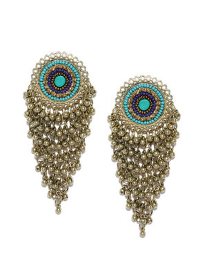 Gold-Toned & Blue Circular Drop Earrings