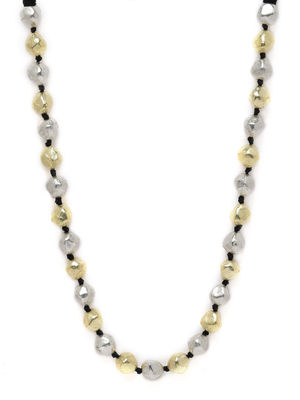 Women Silver & Gold-Toned Tribal Bead Necklace