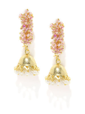 Gold-Tone Pink Beaded Jhumka Earring For Women