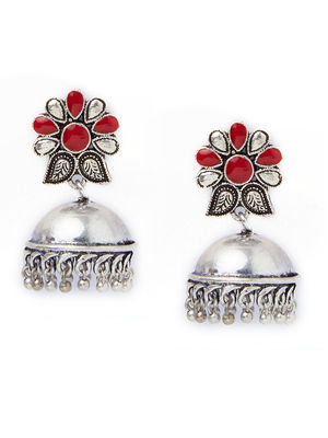 Ethnic Indian Traditional Silver Jhumka Earrings For Women