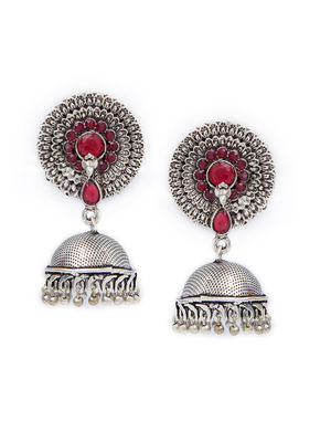 Ethnic Indian Traditional Silver,Pink Stone Embellished Jhumka Earrings For Women