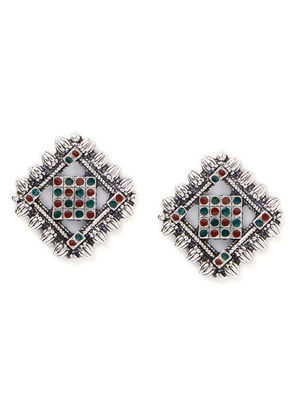 Ethnic Indian Traditional Oxidised Silver Stud Earrings For Women