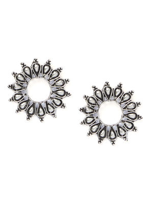 Ethnic Indian Traditional Silver Flower Shape Stud Earrings For Women