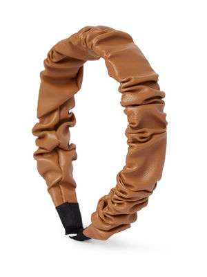Faux Leather Brown Ruched Hair Band For Women