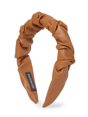 Brown Faux Leather Hand Made Ruffled Head Band For Women