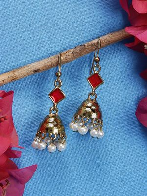 Gold-Toned Dome Shaped Drop Earrings