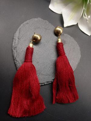 Maroon Tassel Drop Earrings