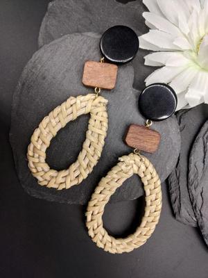 Beige Knit Drop Earrings