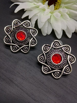 Oxidized Silver-Toned & Red Star Shaped Studs