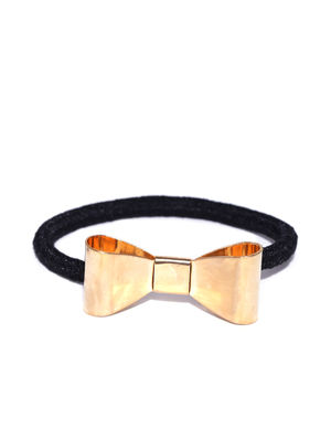 Set Of 2 Gold Bow Rubber Band For Women