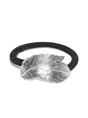 Elegant Silver Leaf Design   Rubber Band For Women