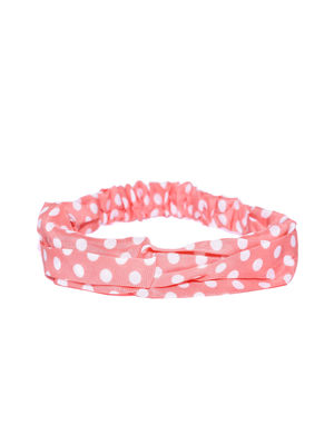 Pink Polka Dot Printed Hair Band For Women