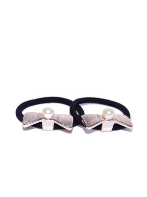 Gold Set Of 2 Gold Bow  Rubber Band For Women