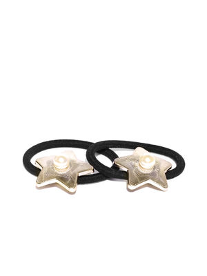 Gold Set of 2 Pearl Gold Star Rubber Band For Women