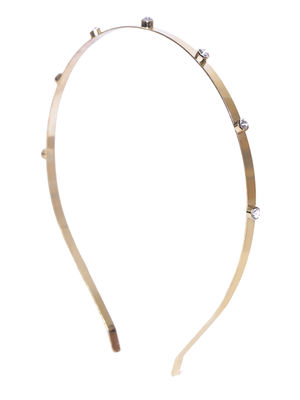 Gold Metal Stone Embellished Hair Band For Women