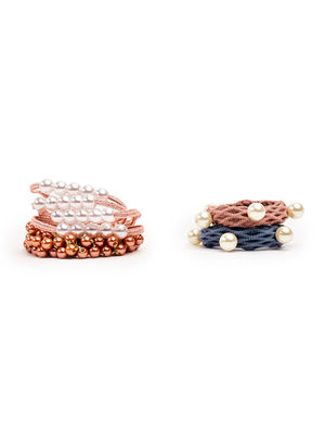 Set Of 5 Pearl Embellished  Rubber Band For Women