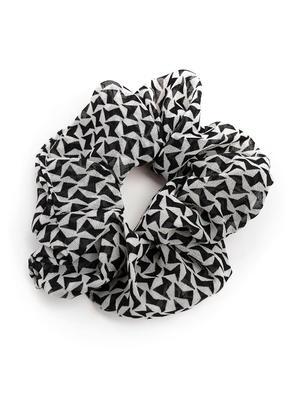 Set Of 2 Black & White Printed & Solid Denim Blue Scrunchie For Women