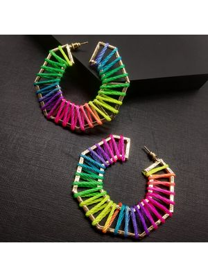Multicoloured Geometric Hoop Earrings