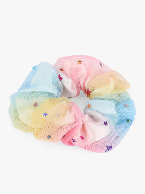 Toniq Rainbow Tulle Multicolor Hair Scrunchie Rubber Band For Girls