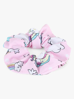 Toniq Kids Unicorn Dreams Printed Pink Hair Scrunchie Rubberband