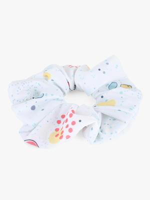 Toniq Kids White Printed Scrunchie Rubber Band For Girls