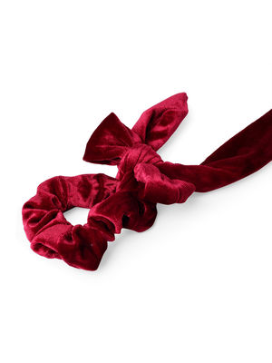 ToniQ Maroon Velvet Bow Hair Scrunchie For Women