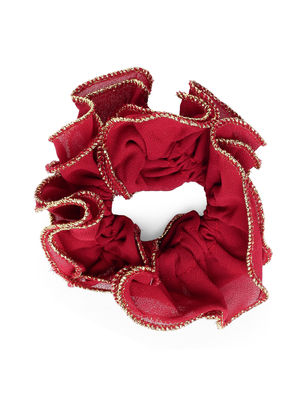Toniq Maroon Ruffled Elastic Hair Scrunchies For Women